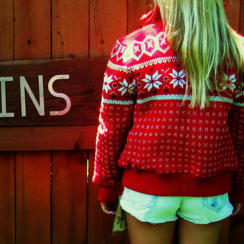 vintage dead stock bright red snowflake sweater / lightweight quilted jacket. nwt. Learsi. ski lodge sweater. holiday sweater