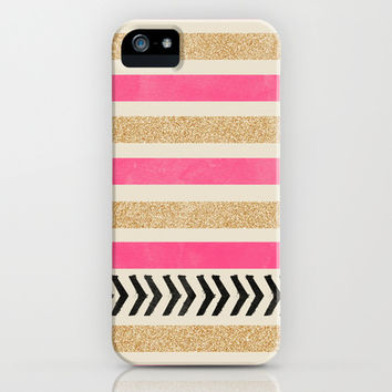 PINK AND GOLD STRIPES AND ARROWS iPhone   iPod Case by Allyson