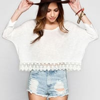 Patrons Of Peace Womens Crochet Trim Crop Top White  In Sizes
