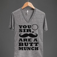 buttmunch v neck - glamfoxx.com - Skreened T-shirts, Organic Shirts, Hoodies, Kids Tees, Baby One-Pieces and Tote Bags