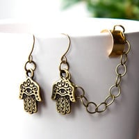 Hamsa Ear Cuff Earrings Bronze Antiqued Brass by AtelierYumi