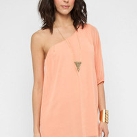 One Shoulder Chiffon Mini Dress in Peach :: tobi