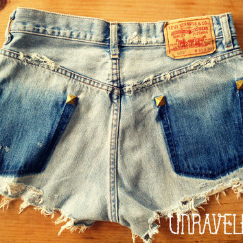 Levis Studded Denim Jean Shorts Size SMALL to by UnraveledClothing
