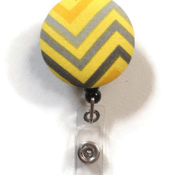Fabric Covered Retractable Badge Reel Yellow and Grey Chevron Keychain Lanyard