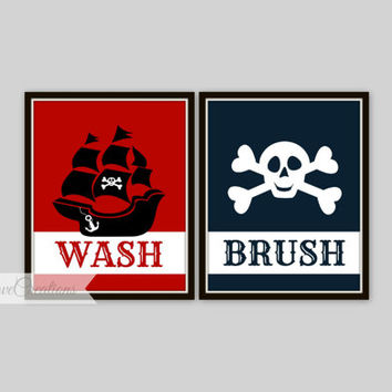Pirate Bathroom Art Prints - Set of 2 Prints - Kids Bathroom Decor - Bathroom Decor - Skull and Crossbones Print