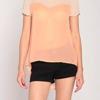 Chiffon Contrast Top in Light Taupe/Sherbert