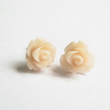 Peach Flower Earrings Resin Rose Stud Earrings -Delicate Bridal Earrings