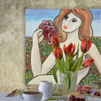 "Erotica Portrait Painting of nude Girl with Grape in meadow KSAVERA ""Tamara""16x16 Contemporary Original art Lady Woman Cubism pink gray"