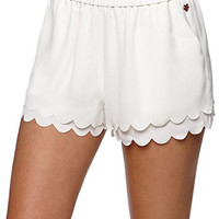 Kendall & Kylie High Rise Scalloped Hem Shorts - Womens Short - White -