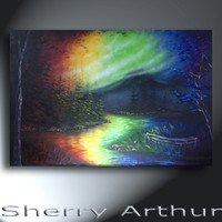 Rainbow Landscape Trees And Water Row Boat Original Artwork 24x36 In The Roy G Biv Mountains