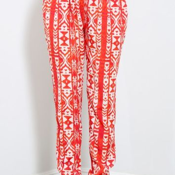 Aztec Painting Hi-Rise Trousers | MakeMeChic.com