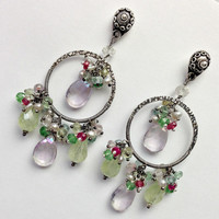 Prehnite Sterling Silver Earrings, Hoop Chandelier Earrings, Multicolor Pastel Gemstone, Wire Wrapped Chandelier, Summer Hoop Earrings