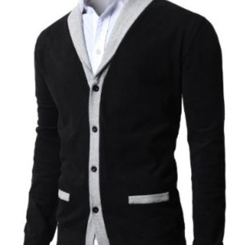 H2H Mens Shawl Collar Cardigan with Fake Pockets