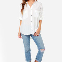 Boyfriends Forever Ivory Button-Up Top