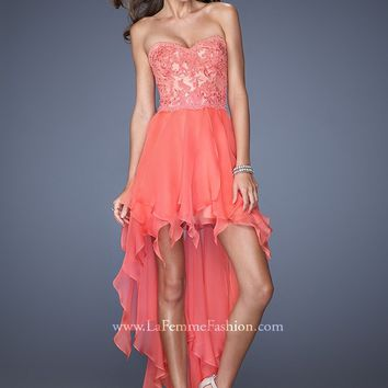 La Femme 19607 Lace High Low Dress