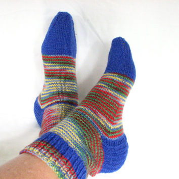 Multi Color Knit Socks  - Blue Striped Anklet - Womens Short Socks