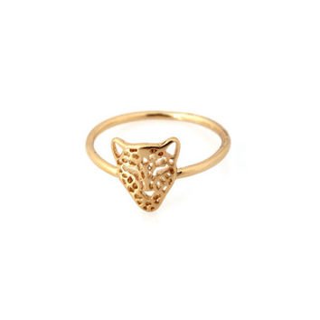 Golden Cheetah Head Ring | emmajoy