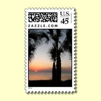 Palm Tree Silhouette at Sunset Postage Stamp