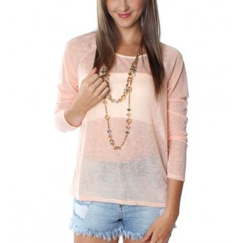 Sheer Sequin Top Peach