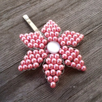 Hand Beaded Pink Pearl Flower Hair Clip with Opalescent Center Piece/Handmade Hair Accessory