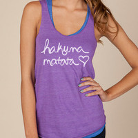 Hakuna Matata Eco Heather Racerback Tank Top in Purple by ShopRIC