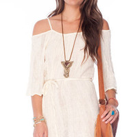 Just Be Gauze Dress in Cream :: tobi