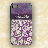 Eggplant purple damask designer Iphone case 4 and by ToGildTheLily