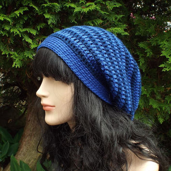 Blue Stripe Slouch Beanie - Womens Slouchy Crochet Hat - Ladies Oversized Cap - Hipster Hat - Baggy Beanie