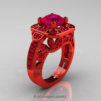 Art Masters Classic 14K Red Gold 2.0 Ct Burma Ruby Engagement Ring Wedding Ring R298-14KREGBR