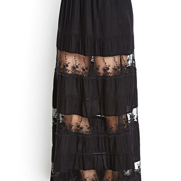 Lace Tiered Maxi Skirt