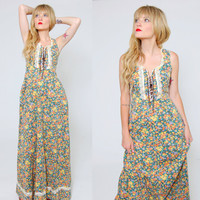 Vintage 70s Corset Maxi Dress FLORAL Print Lace Trim Prairie Dress Boho Summer Dress Hippie Sundress