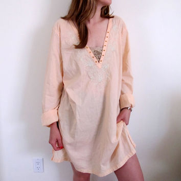 Vintage Peach Tunic Off White Orange Boho Bohemian Gypsy Blouse Womens Shirt Summer Festival