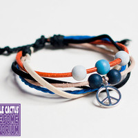 Peace Sign Bracelet cord bead and pendant by purplecactusdesign