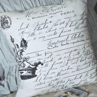 Pillow Coverthe Madame Paris cotton and burlap by JolieMarche