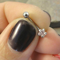 Tiny Pink Crystal Star Eyebrow Ring Rook Ear Piercing