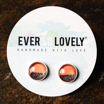 metallic grey and coral silver stud earrings - coral wedding - metallic half moon earrings