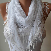 White Laced Scarf with White Trim Edge by SwedishShop on Etsy
