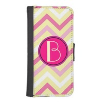 Monogram, Pastel Chevron iPhone 5/5S Wallet Case