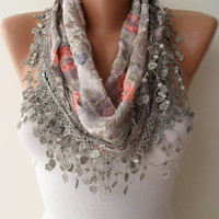 Light Grey Scarf with Same Color Trim Edge by SwedishShop on Etsy