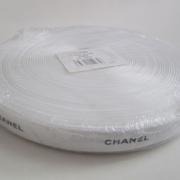 "100 METERS - Authentic CHANEL Ribbon White with Black Logo Letters 3/8"" or 3/4"" DIY Headband Hairbow / Gift Wrap / Scrapbooking / Trim"
