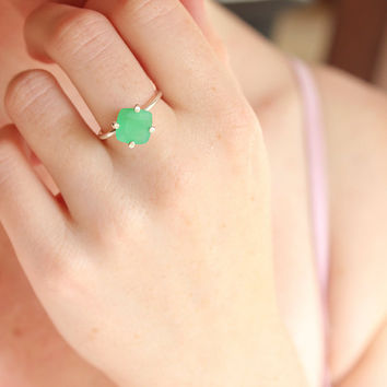 $115.00 COUPON SALE Chrysoprase ring sterling silver by BelindaSaville