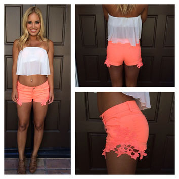 ReckLace Shorts  NEON CORAL