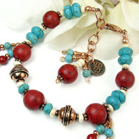 Red Turquoise Copper Om Handmade Bracelet Adjustable Beaded Jewelry