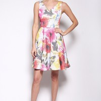 Floral Circle Dress with V-Neck