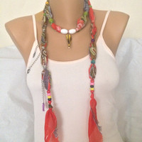 Coral Jewelry Scarf - Bohemian Woman Accessories - Charm Scarf Necklace - Beaded Jewelry Scarf - Summer Women  Fashion Accessories