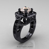 Art Masters Classic 14K Black Gold 2.0 Ct Morganite Black Diamond Engagement Ring Wedding Ring R298-14KBGBDMO