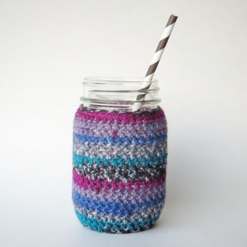Multicolor Teal and Purple Mason Jar Cozy Pint Sized Jar Sleeve Crochet Jar Cover in Teal and…