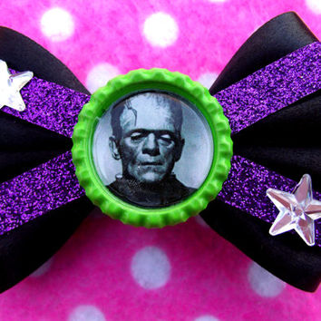 Frankenstein Halloween Horror Hair Bow