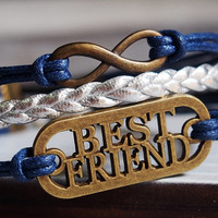Infinity bracelet, infinity, best friend, best friend bracelet, infinity best friend bracelet, navy blue, best infinity best friend jewelry