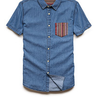 Chambray Pocket Shirt Denim Washed/Red X-Large